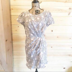 XXI Faux Wrap Silk Dress Circle Print Size 10